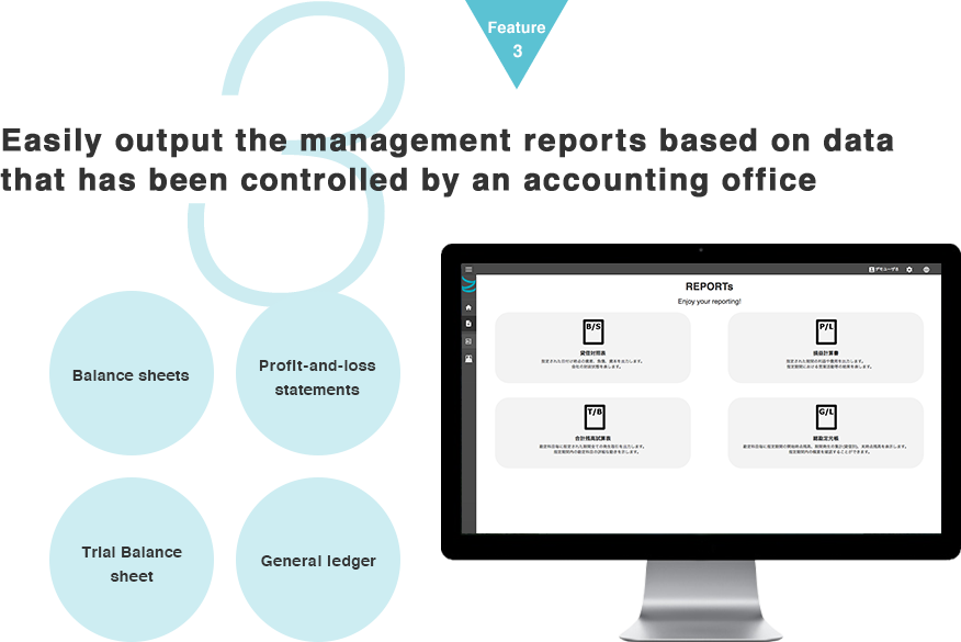 easily output the management reports based on data that has been controlled by an accounting office